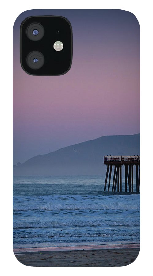 Pismo Beach IPhone 12 Case featuring the photograph Moonset At Pismo Beach by Mimi Ditchie Photography