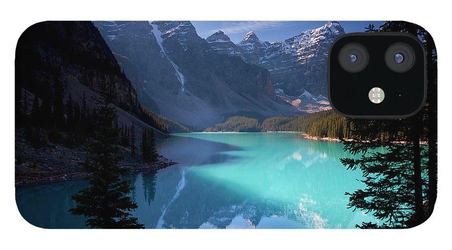 Extreme Terrain IPhone 12 Case featuring the photograph Moraine Lake, Banff National Park by Dan prat
