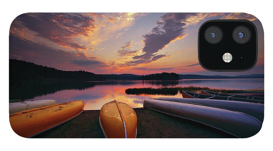 Tranquility IPhone 12 Case featuring the photograph Morning At Lake Of The Two Rivers by Henry@scenicfoto.com