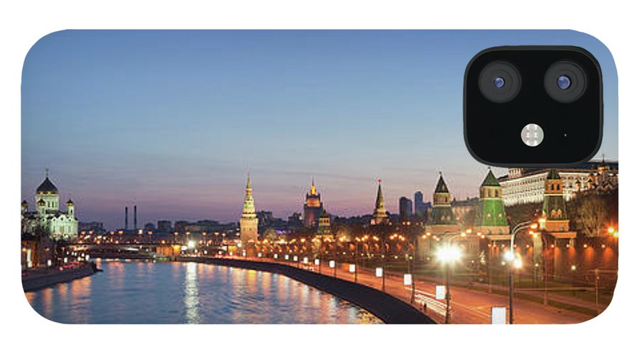 Panoramic iPhone 12 Case featuring the photograph Moscow River At Dusk by Siegfried Layda