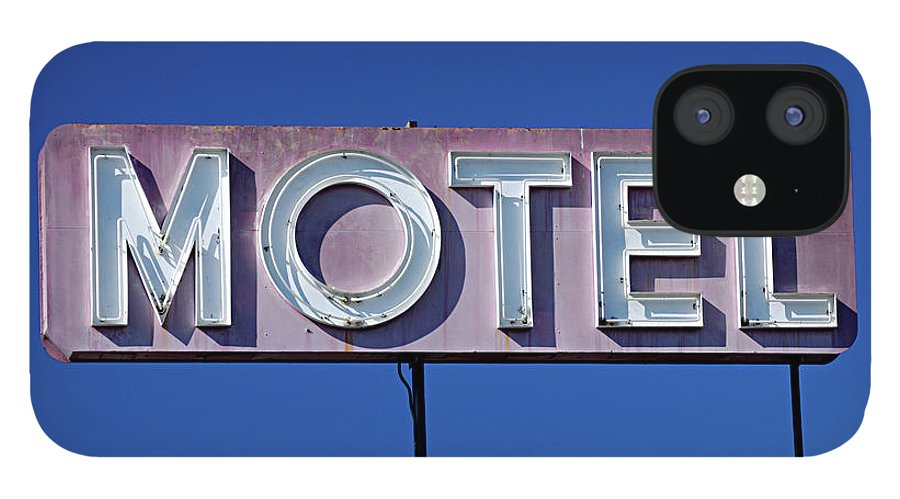 Clear Sky IPhone 12 Case featuring the photograph Motel Sign by Eyetwist / Kevin Balluff