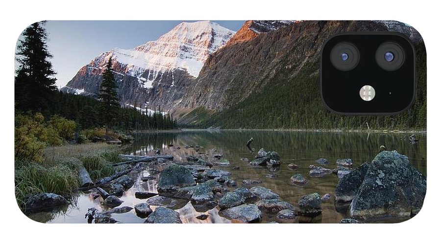 Scenics iPhone 12 Case featuring the photograph Mount Edith Cavell And Cavell Lake by Design Pics/philippe Widling