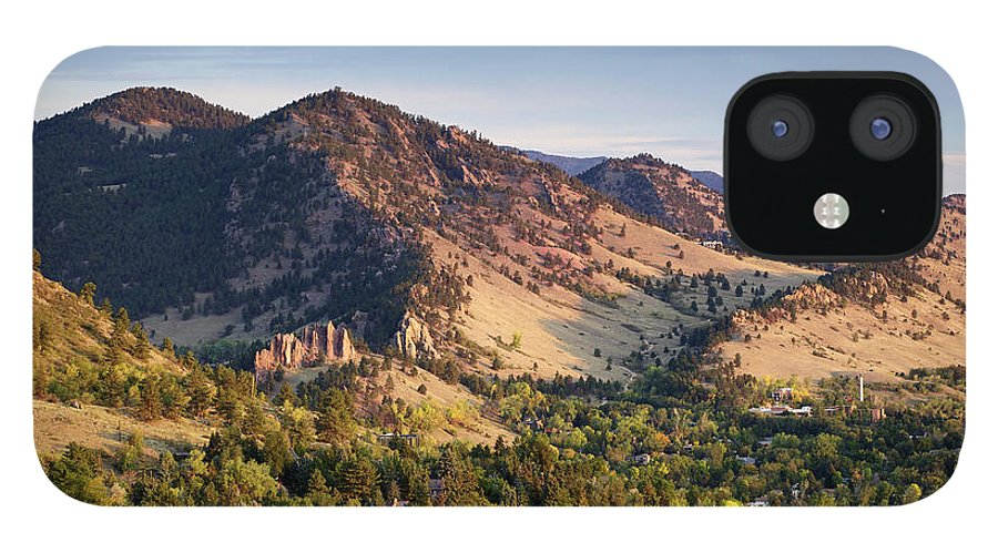 Scenics IPhone 12 Case featuring the photograph Mount Sanitas And Fall Colors In by Beklaus