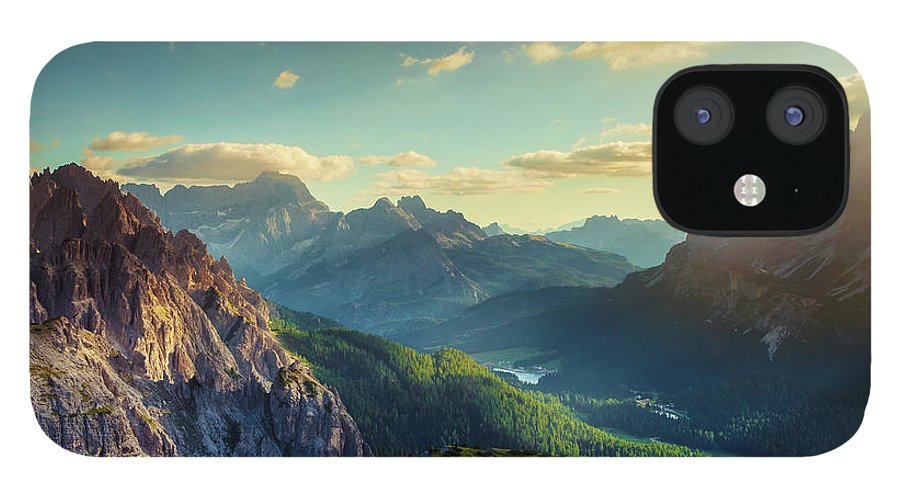 Belluno IPhone 12 Case featuring the photograph Mountains And Valley At Sunset by Mammuth