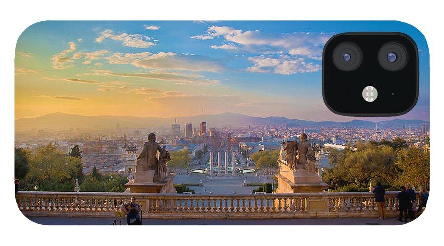 People iPhone 12 Case featuring the photograph Museu Nacional Dart De Catalunya by Albert Photo
