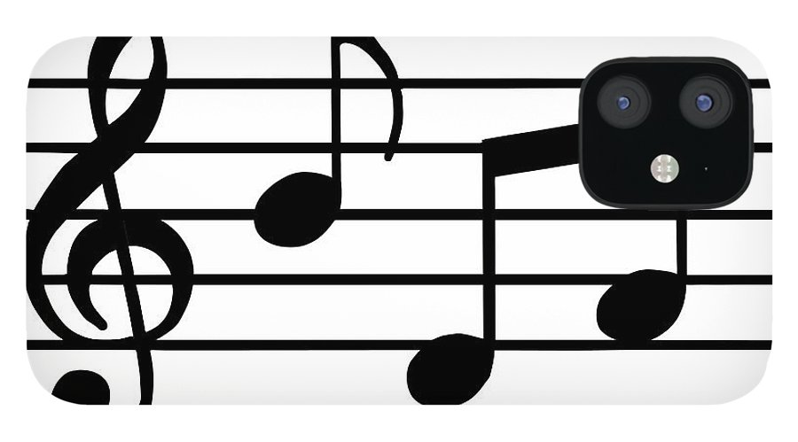 Sheet Music IPhone 12 Case featuring the digital art Music Notes In Black And White by Comstock