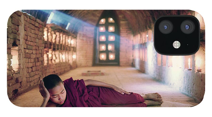 Child IPhone 12 Case featuring the photograph Myanmar, Buddhist Monk Inside by Martin Puddy