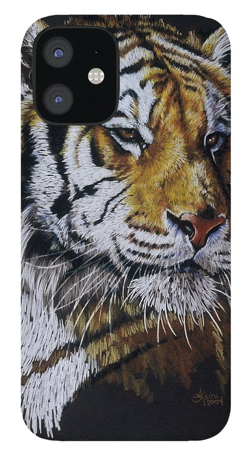 Panthera iPhone 12 Case featuring the drawing Nanook the Tiger by Barbara Keith