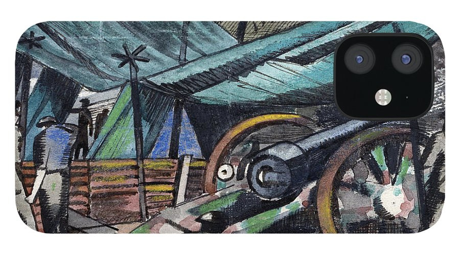 B1019 IPhone 12 Case featuring the painting A Howitzer Firing, 1918 by Paul Nash