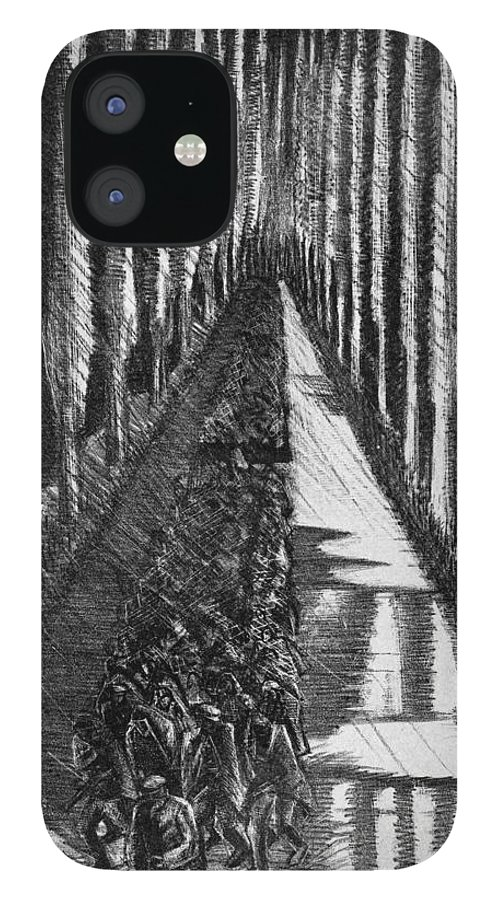 B1019 IPhone 12 Case featuring the drawing Men Marching At Night, 1918 by Paul Nash