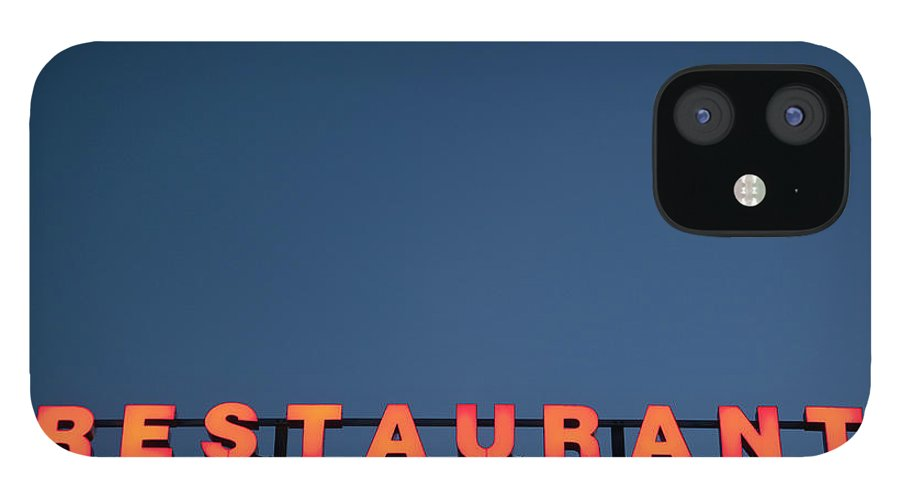 Temptation IPhone 12 Case featuring the photograph Neon 3 Star Restaurant Sign by Henglein And Steets