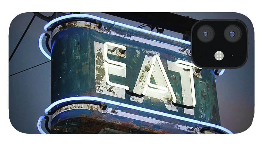 Hanging IPhone 12 Case featuring the photograph Neon Eat Sign by Kjohansen