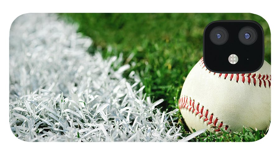 Grass IPhone 12 Case featuring the photograph New Baseball Along Foul Line by Cmannphoto