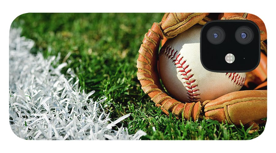 Grass IPhone 12 Case featuring the photograph New Baseball In Glove Along Foul Line by Cmannphoto