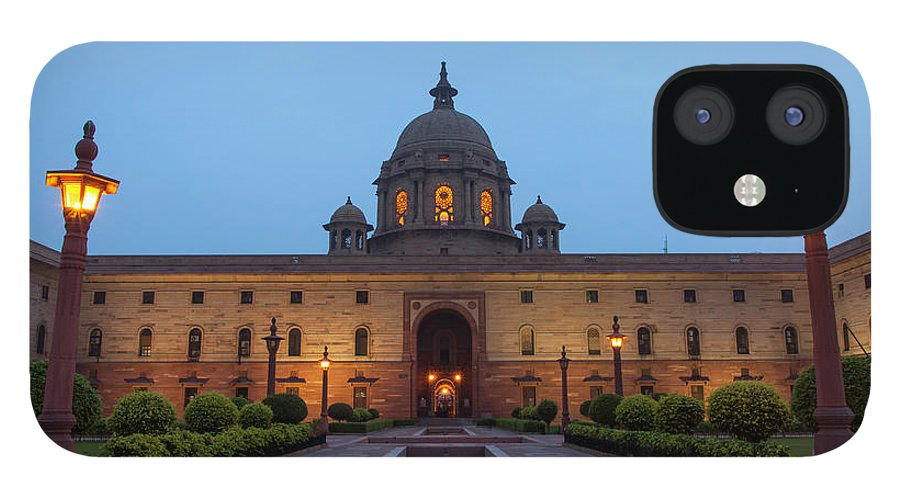 New Delhi IPhone 12 Case featuring the photograph New Delhi President House At Night by Prognone