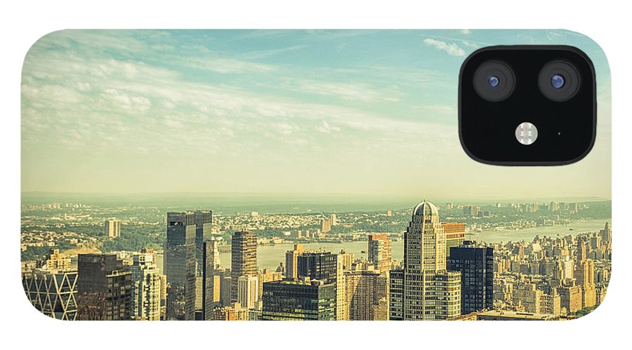 Lower Manhattan IPhone 12 Case featuring the photograph New York City Skyline With Central Park by Franckreporter