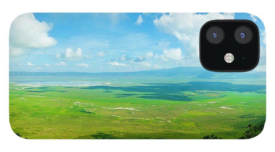 Scenics IPhone 12 Case featuring the photograph Ngorongoro Crater, Tanzania, Africa Xxxl by Ranplett