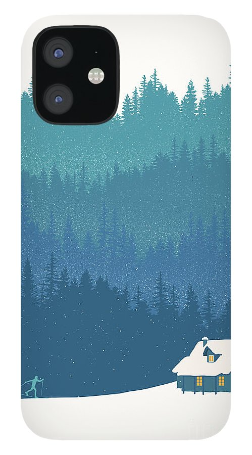 Nordic Ski IPhone 12 Case featuring the painting Nordic Cross Country Winter Ski Scene by Sassan Filsoof