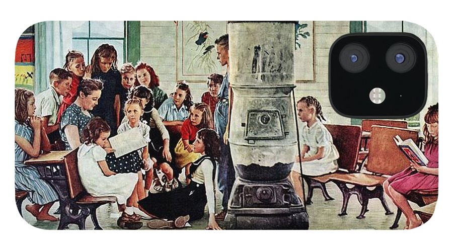 Book IPhone 12 Case featuring the drawing Norman Rockwell Visits A Country School by Norman Rockwell