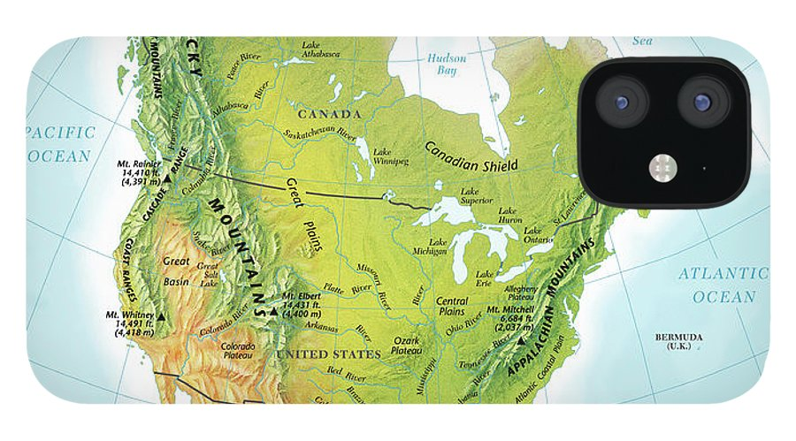 Compass Rose IPhone 12 Case featuring the digital art North America Continent Map, Relief by Globe Turner, Llc