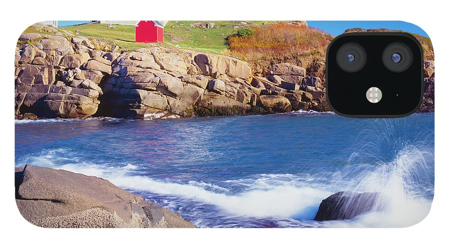 Water's Edge IPhone 12 Case featuring the photograph Nubble Lighthouse And Coastine Of Maine by Ron thomas