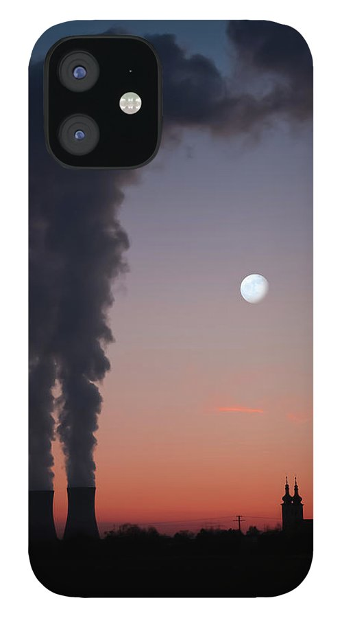 Air Pollution IPhone 12 Case featuring the photograph Nuclear Power Station In Bavaria by Michael Kohaupt