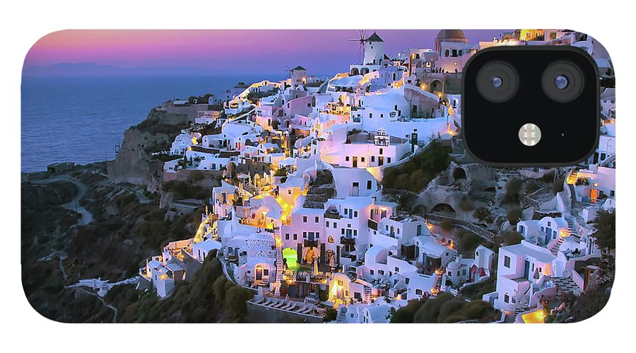 Greek Culture IPhone 12 Case featuring the photograph Oia Lights At Sunset by Greg Gibb Photography