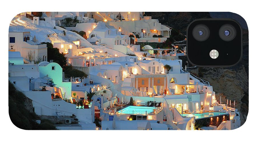 Tranquility iPhone 12 Case featuring the photograph Oia, Santorini Greece At Night by Marcel Germain