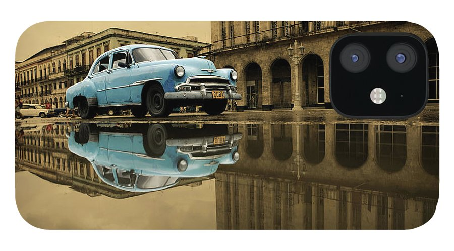 Arch IPhone 12 Case featuring the photograph Old Blue Car In Havana by 1001nights