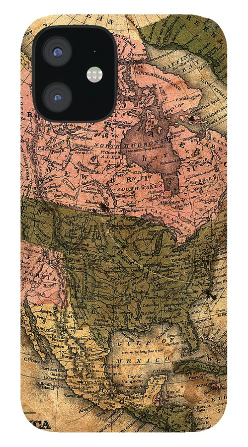 Outdoors IPhone 12 Case featuring the photograph Old North America Map by Belterz