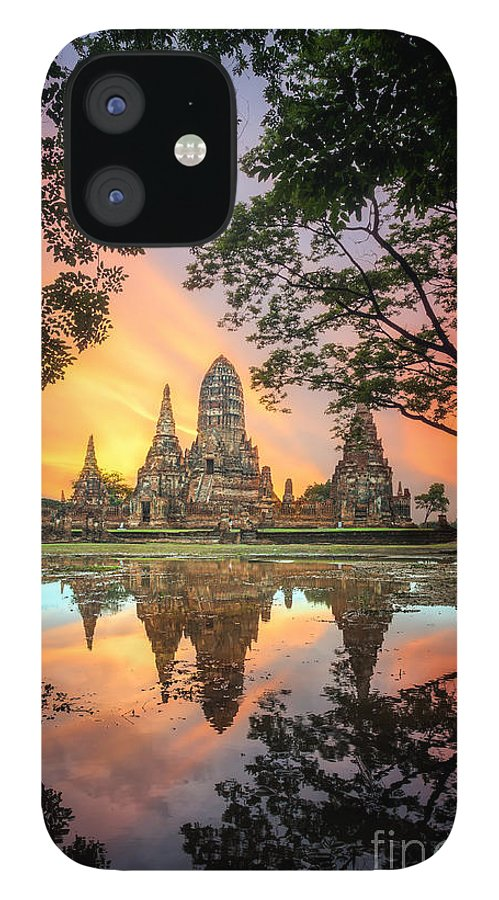 Sukhothai IPhone 12 Case featuring the photograph Old Temple Wat Chaiwatthanaram by Santiphotoss