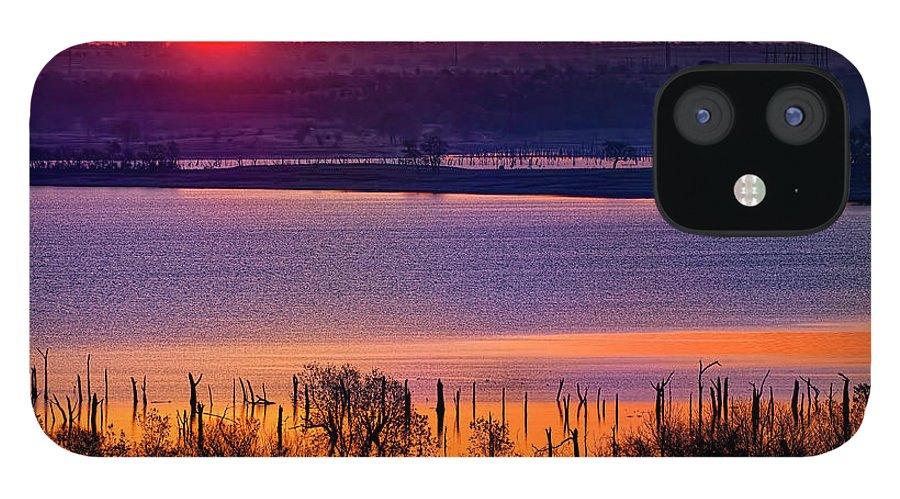Scenics IPhone 12 Case featuring the photograph Orange Sunrise On Benbrook Lake by Dean Fikar