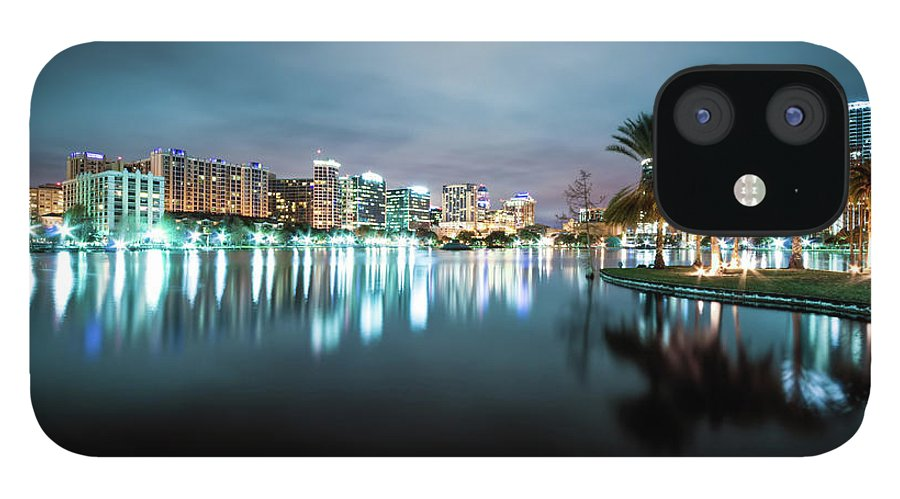 Outdoors IPhone 12 Case featuring the photograph Orlando Night Cityscape by Sky Noir Photography By Bill Dickinson