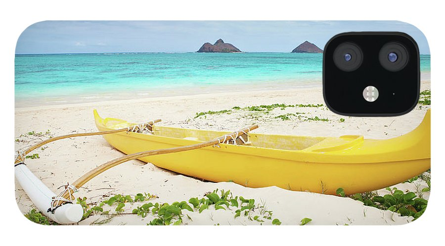 Scenics IPhone 12 Case featuring the photograph Outrigger Canoe Lanikai Beach by M Swiet Productions