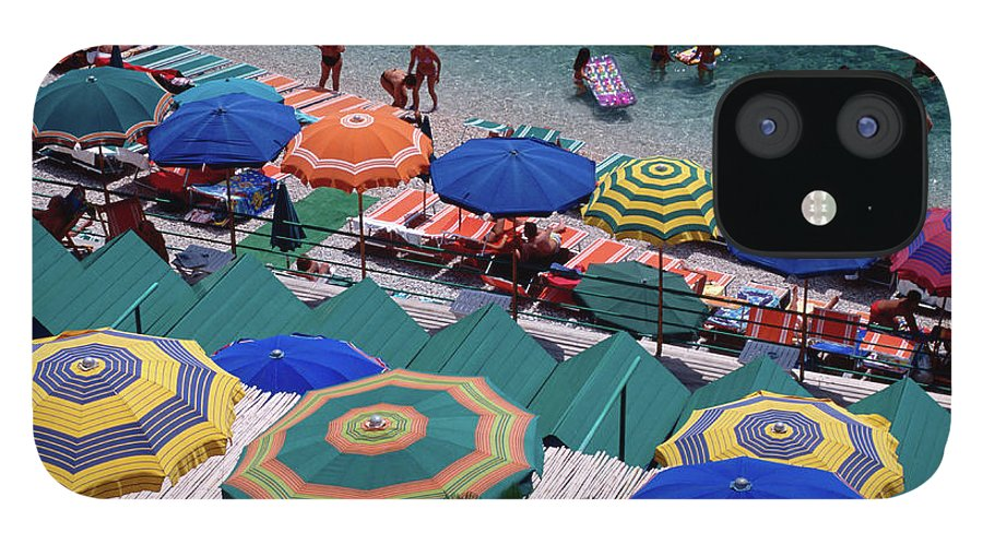 Shadow IPhone 12 Case featuring the photograph Overhead Of Umbrellas At Private by Dallas Stribley
