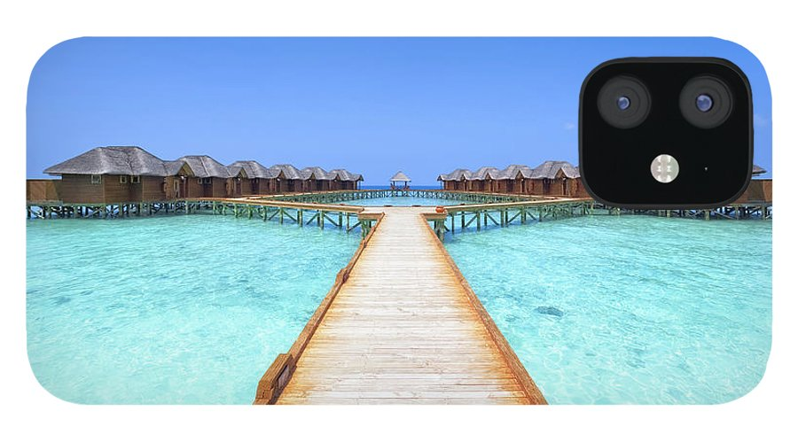 Beach Hut IPhone 12 Case featuring the photograph Overwater Bungalows Boardwalk by Cinoby