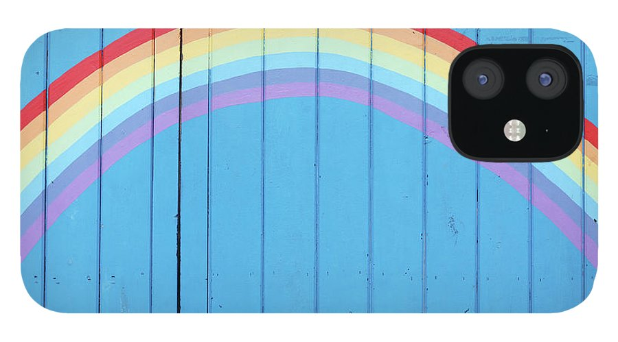 Art IPhone 12 Case featuring the photograph Painted Rainbow On Wooden Fence by Richard Newstead