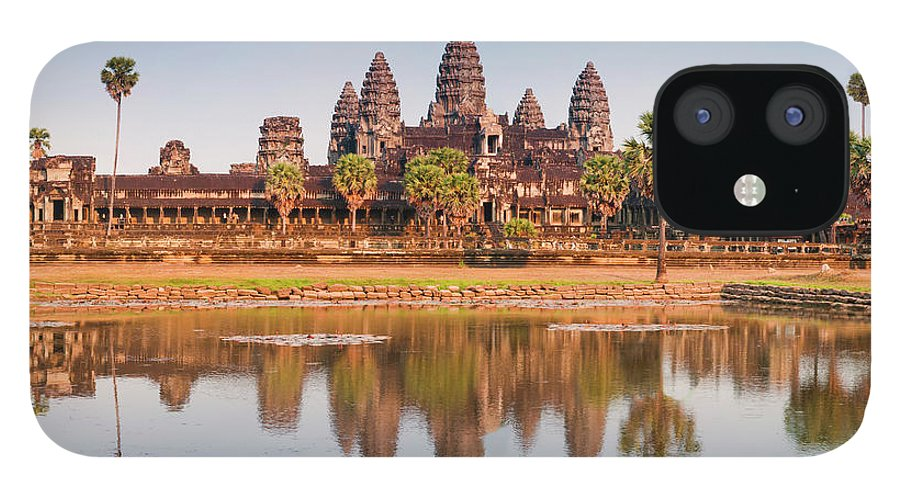 Hinduism iPhone 12 Case featuring the photograph Panorama Of Angkor Wat Cambodia Ruins by Leezsnow