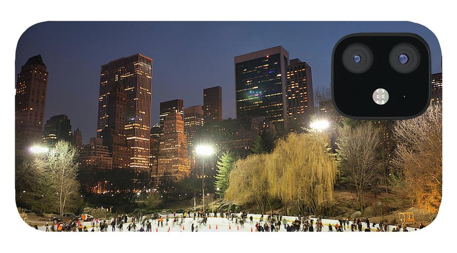 People IPhone 12 Case featuring the photograph Panorama Of People Ice Skating In by Studiokiet