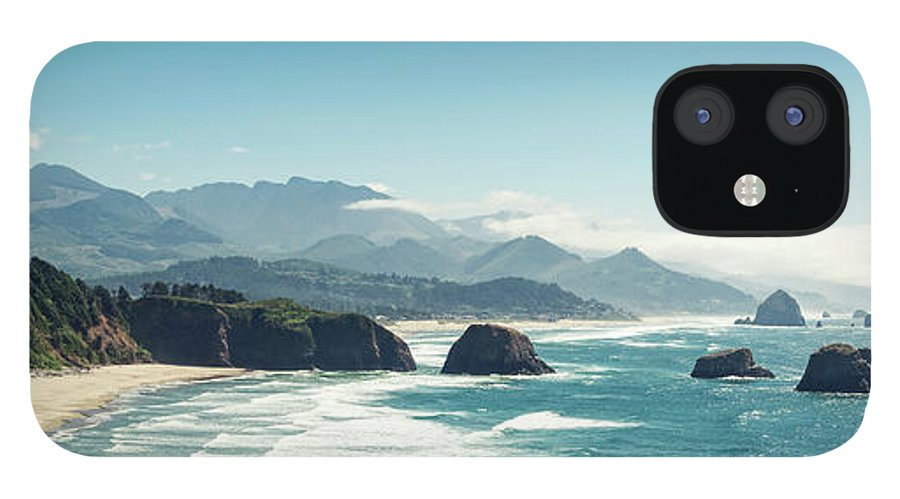 Scenics IPhone 12 Case featuring the photograph Panoramic Shot Of Cannon Beach, Oregon by Kativ