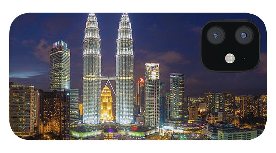 Panoramic IPhone 12 Case featuring the photograph Panoramic View Of Petronas Twin Towers by Www.imagesbyhafiz.com