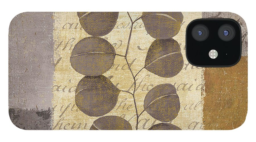 Leaves IPhone 12 Case featuring the painting Parchment I by Yuna