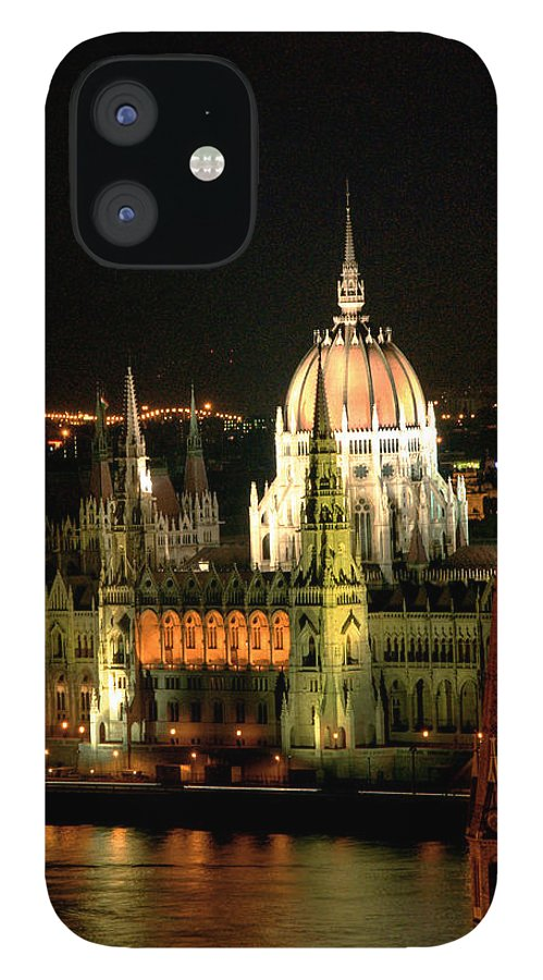 Hungarian Parliament Building IPhone 12 Case featuring the photograph Parliament Building Lit Up At Night by Roberto Herrero Garcia
