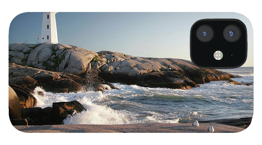Water's Edge IPhone 12 Case featuring the photograph Peggys Cove Lighthouse & Waves by Cworthy