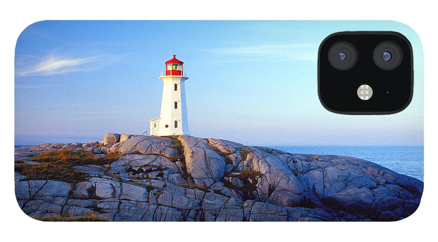 Water's Edge IPhone 12 Case featuring the photograph Peggys Cove Lighthouse At Sunrise by Photorx