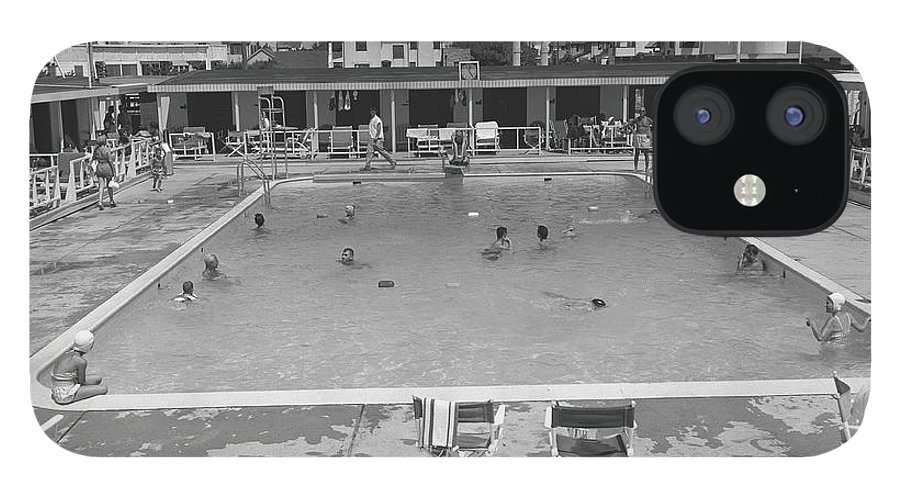 Rectangle IPhone 12 Case featuring the photograph People Swimming In Pool, B&w, Elevated by George Marks