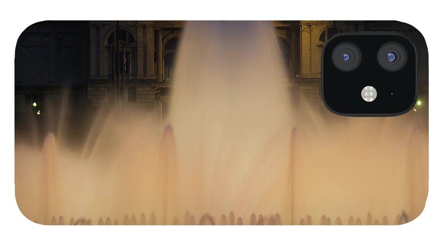 Palace Of Montjuic iPhone 12 Case featuring the photograph People Watching Fountain, Palace Of by Peter Adams