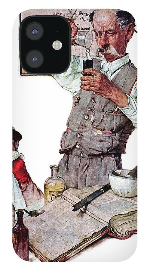 Boy IPhone 12 Case featuring the drawing Pharmacist by Norman Rockwell