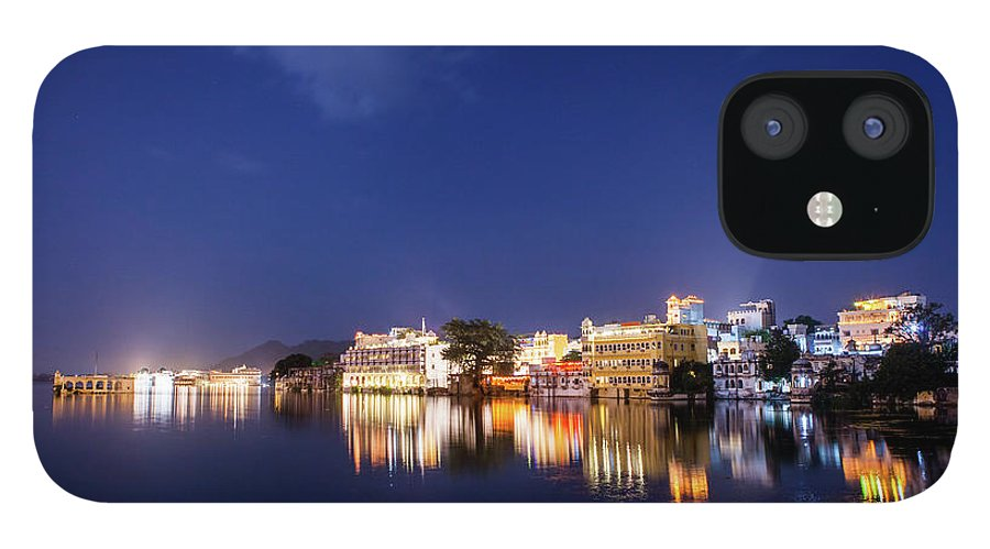 Tranquility IPhone 12 Case featuring the photograph Pichola Lake Night View by Greenlin