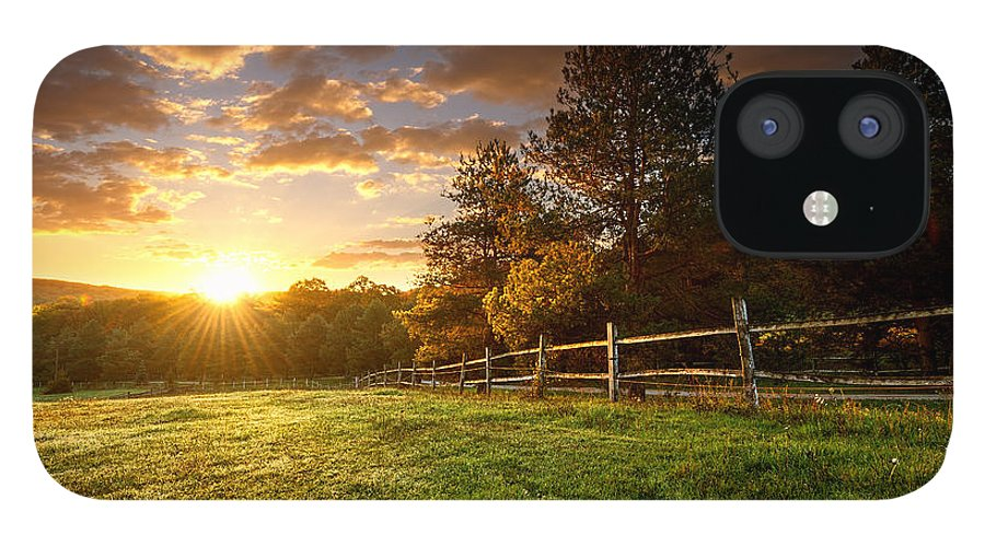 Country iPhone 12 Case featuring the photograph Picturesque Landscape Fenced Ranch by Gergely Zsolnai